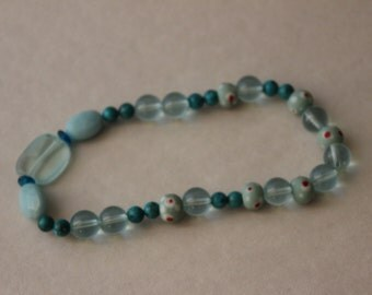 Glass and Handmade Bead Bracelet