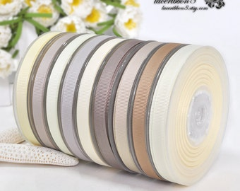 100 Yards - Ivory Brown Grey Gray Plain Solid 3/8 Grosgrain Ribbons, Double Faces, Ribbon Supplier Wholesales