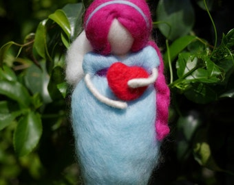 Love Fairy, Needle felted doll: Fairy with red heart, Girl red heart, Wool Fairy Waldorf, gift of love
