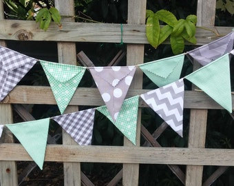 Bunting, flags or banner for bedroom, garden, birthday Mint Green  and grey Riley Blake fabric