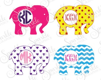 Elephant Monogram Frame Cut File Elephant SVG Chevron Hearts Polka Dots Clipart Svg Dxf Eps Png Silhouette Cricut Cut File Commercial Use