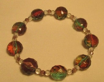 Red/Green faceted bead bracelet