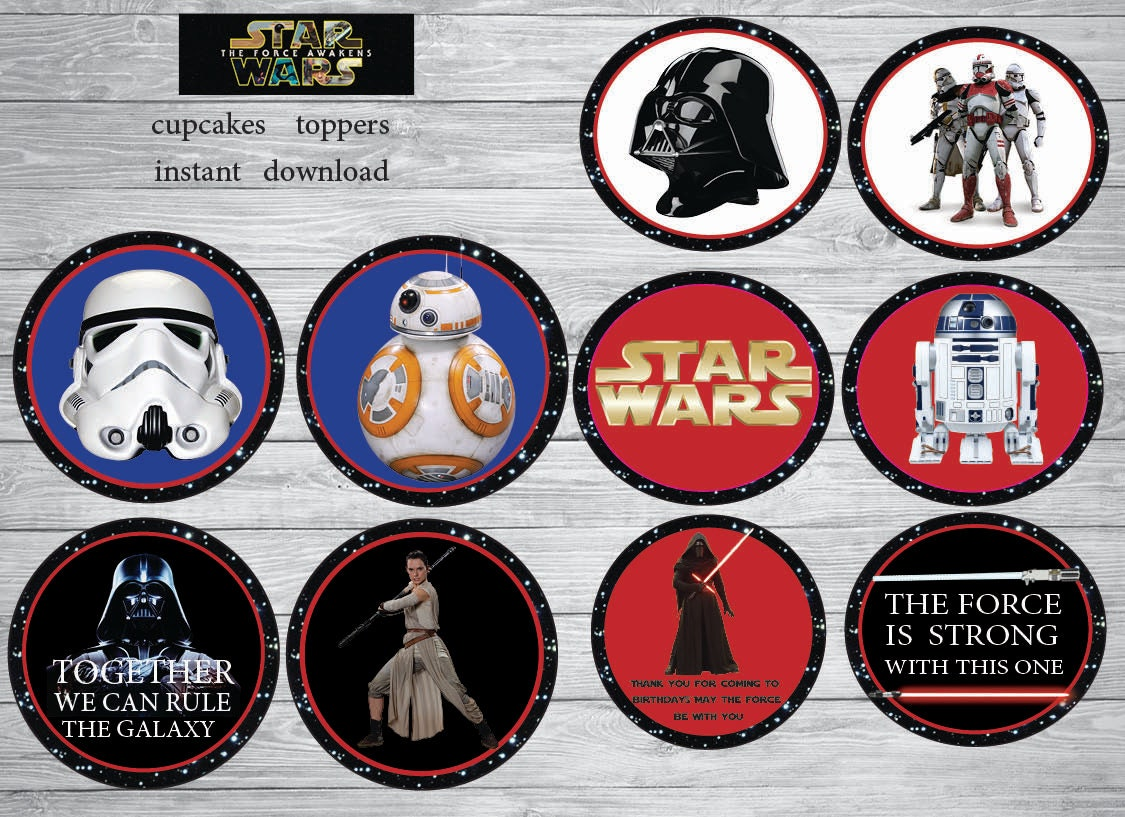 Instant Download Star Wars cupcakes toppers Star Wars 7