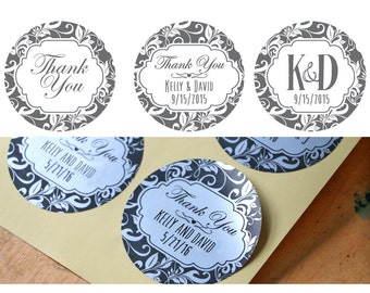 Set of Personalized Custom Damask Dark Grey Wedding Names Thank You stickers with silver or gold foil option