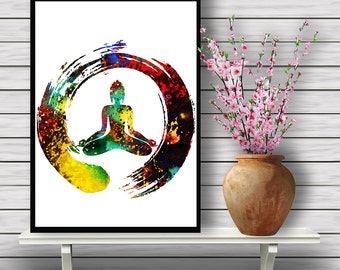 Zen Buddha, Peace, Buddhism, Spirituality, watercolor Yoga, Room Decor, Harmony, Poster, Sitting Buddha,gift, Instant Download