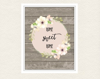 HOME SWEET HOME wall art - Typography - Bedroom Wall Art - Shabby Home Decor - Prints - 8x10 and 11x14 files - Instant Prints