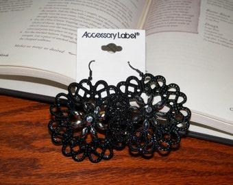 Black and Silver Flower Earrings