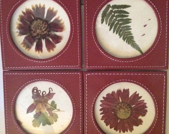 Earth Laughs in Flower-- Ralph Waldo Emerson-  Real Pressed Flower Coaster Set of Four