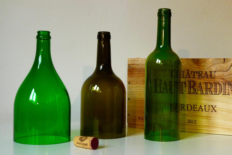Cut wine bottle recycled cut wine bottles green bottle for Green wine bottles