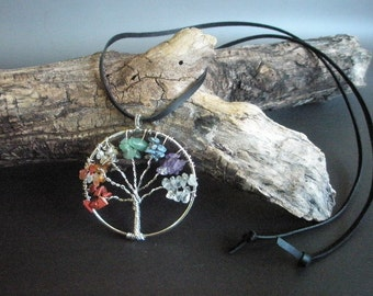 Tree pendant with mixed gemstones on leather
