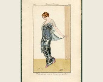 1914 Antique Pochoir Fashion Print - Journal Des Dames et des Modes - Costume Parisien, Pochoir Print Robe du Soir en soie bleu de lune