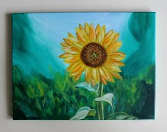 Sunflower Art, Sunflower Painting, Abstract Sunflower, Sunflower Canvas, Flower Art, Acrylic Painting, Canvas Painting, 12x16 Canvas