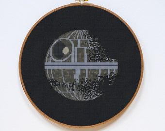 Death Star II, Star Wars Cross Stitch Pattern, Modern StarWars Cross Stitch Easy Chart, PDF Format, Instant Download