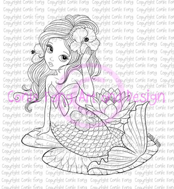 Digital Stamp, Digi Stamp, digistamp, Liliana Mermaid by Conie Fong, Coloring Page, mermaid, girl, fantasy, flower, waterlily, scrapbooking