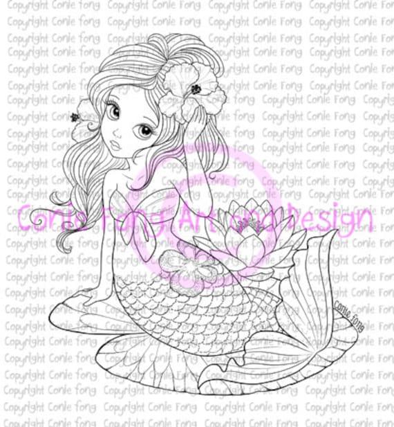 Digital Stamp, Digi Stamp, digistamp, Liliana Mermaid by Conie Fong, Coloring Page, mermaid, girl, fantasy, flower, waterlily, scrapbooking
