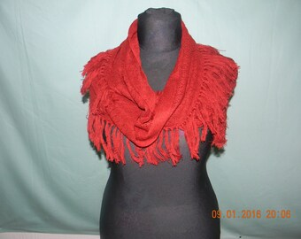 Handmade knitted light weight snood/scarf with tassels.
