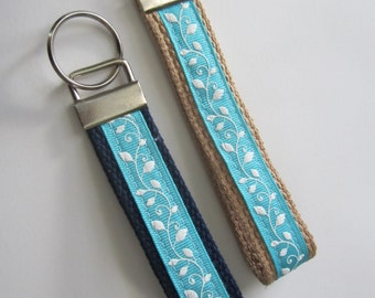FREE SHIPPING - Blue and White Floral Keychain Wristlet, Key Fob
