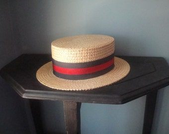 Vintage men's straw boater hat from Italy