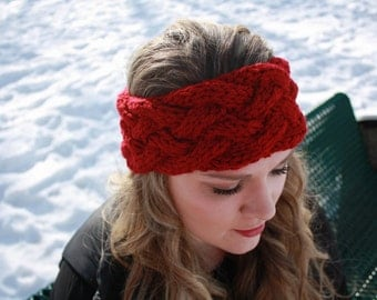 5 strand cable knit headband, earwarmer