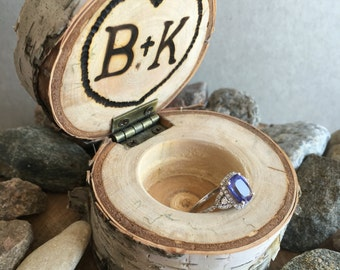 Custom Rustic White Birch ring box with hinged lid