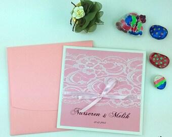 Pink Wedding Invitations, Elegant Invitations, Custom Wedding Invitations, Unique Wedding Invitation, Wedding Invitations, Pink, 25 PIECES
