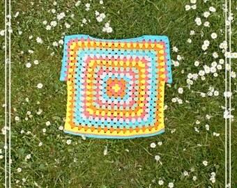 Boho Kids, Free spirit, Crochet, Hippie, Granny Square Top. Handmade Colorful Vegan Summer Top