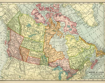 Vintage map of Canada from 1904