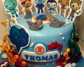 Personalised handmade Octonauts cake topper icing decoration edible birthday,shipping from UK