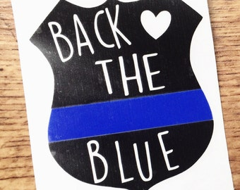 Back The Blue Decal - Police Decal - Police Badge Decal - Police Support Decal - Police Officer Decal