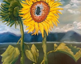 sunflower decor, sunflower painting, sunflower oil painting, oil painting, desert art, sunflower art, home decor, wall hanging, canvas art