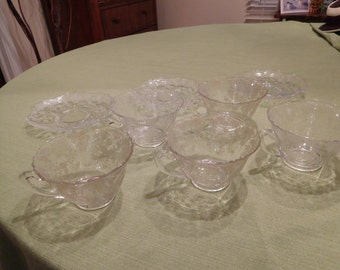 Vintage Glass Rosepoint Teacups and Saucers