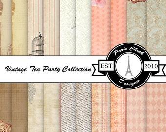 Paris Chick Designs Vintage Teacup Printable Digital Scrapbooking Paper - 20 Pack