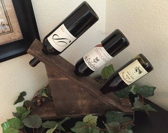 Tabletop Wine Rack, Slanted Wine Rack, Housewarming Gift, Wedding Gift, Wine Rack,