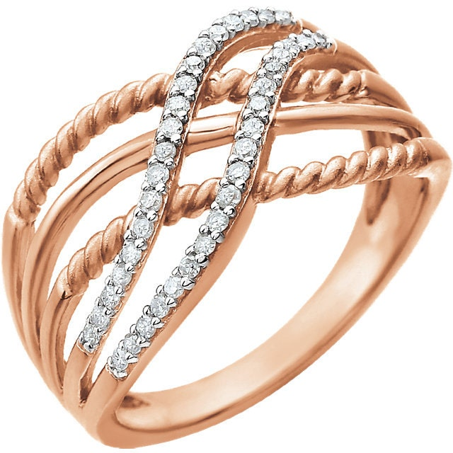 Beautiful 14 Karat Rose Gold 1 6 Carat Diamond Ring