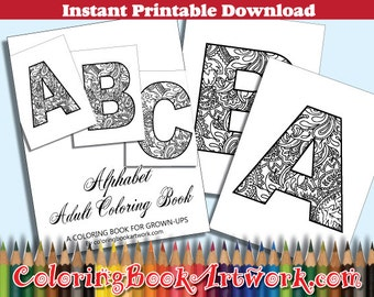 26 Monogrammed Initials Alphabets Coloring Book 26 Printable PDF and JPG instantly download