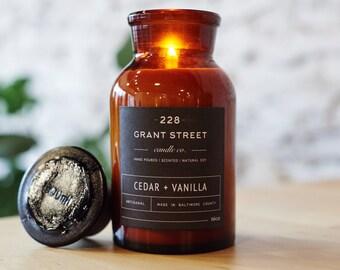 16oz Cedar + Vanilla Apothecary Jar Soy Candle