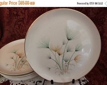 """Fall Clearance Sale Set of 8 Crooksville China 10.25"""" Dinner Plates - Green and Gold Windfowers on Ivory Background"""