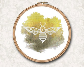 White Silhouette Bee Black and Yellow splatter watercolor Counted Cross Stitch Pattern - PDF Digital Download