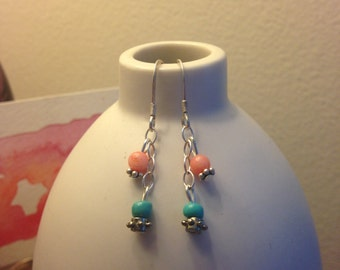 Coral and Turquoise Chain Earrings