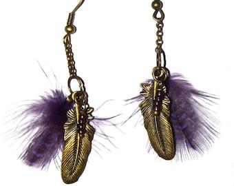Purple feather earrings