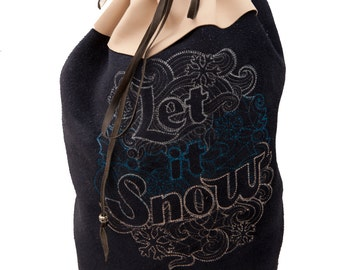 Blue white leather bag with Let it Snow text embroidery winter fashion drawstring duffle duffel bucket bag handstitched larp Christmas purse