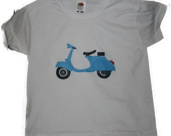 T-Shirt with Blue Scooter  logo  free shipping within UK