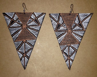 Leather-hand painted earrings
