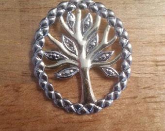 Vintage Sterling Slider Silver Tree Pendant