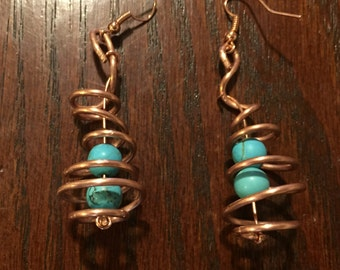 Turquoise and Copper Spiral Earrings