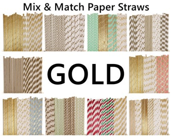 Gold Paper Straws, Gold Paper Straw Mix, 1st Birthday Party, Sweet 16 Paper Straws, Gold Birthday Party Paper Straws Bridal Shower Gold