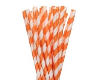 Paper Straws, Orange Striped Paper Straws, Orange Birthday Party Supplies, Graduation Party Decor, Construction Party, Orange Paper Straws