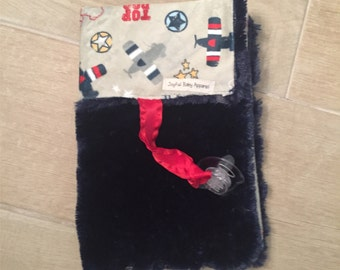 navy airplane minky binky blanket, pacifier blanket
