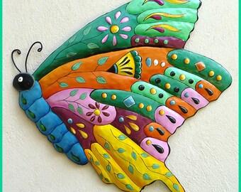Butterfly Metal Wall Art - Metal Wall Hanging - Hand Painted Metal Outdoor Yard Art, Garden Decor - Butterflies, Tropical Design  J-0904- TQ