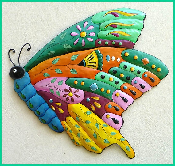 butterfly metal wall art metal wall hanging hand painted. Black Bedroom Furniture Sets. Home Design Ideas
